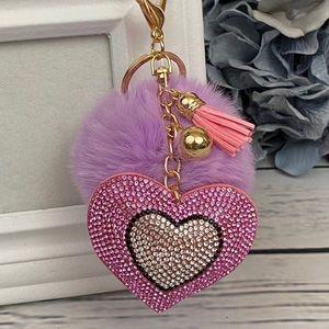 Heart with Pink Rhinestones & Pom Pom on Keychain